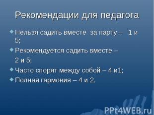 Нельзя садить вместе за парту – 1 и 5; Нельзя садить вместе за парту – 1 и 5; Ре