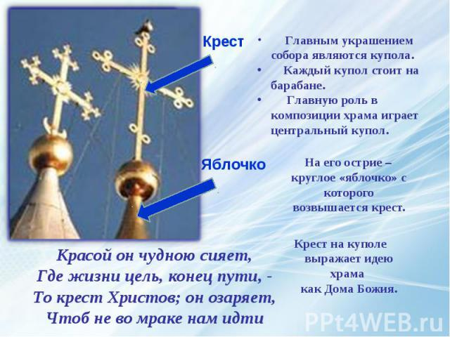 На его острие – круглое «яблочко» с которого возвышается крест. На его острие – круглое «яблочко» с которого возвышается крест. Крест на куполе выражает идею храма как Дома Божия.