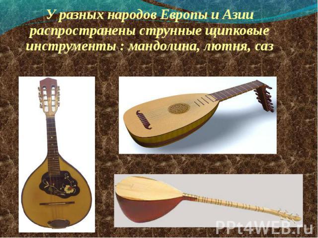 У разных народов Европы и Азии распространены струнные щипковые инструменты : мандолина, лютня, саз У разных народов Европы и Азии распространены струнные щипковые инструменты : мандолина, лютня, саз