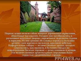 Первые замки являли собою мощные деревянные укрепления, обнесённые частоколом. П