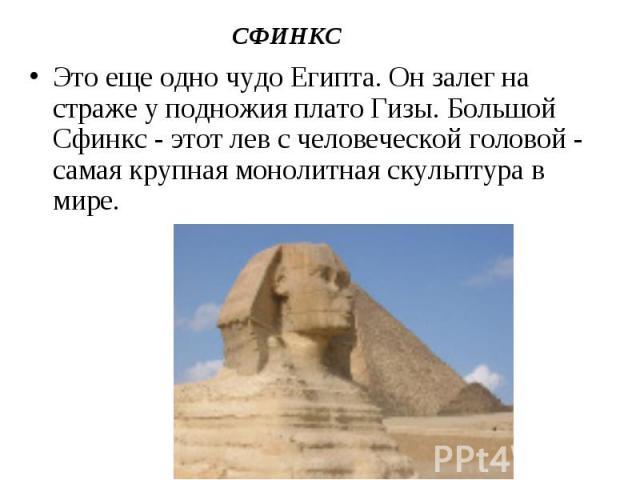 Это еще одно чудо Египта. Он залег на страже у подножия плато Гизы. Большой Сфинкс - этот лев с человеческой головой - самая крупная монолитная скульптура в мире. Это еще одно чудо Египта. Он залег на страже у подножия плато Гизы. Большой Сфинкс - э…