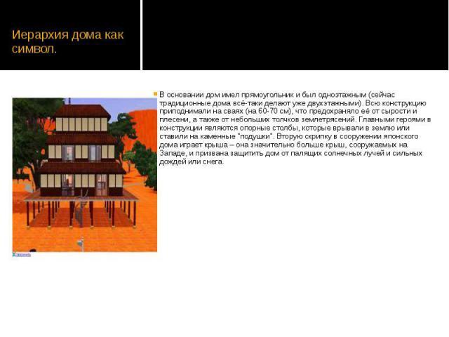 Иерархия дома как символ. В основании дом имел прямоугольник и был одноэтажным (сейчас традиционные дома всё-таки делают уже двухэтажными). Всю конструкцию приподнимали на сваях (на 60-70 см), что предохраняло её от сырости и плесени, а также от неб…