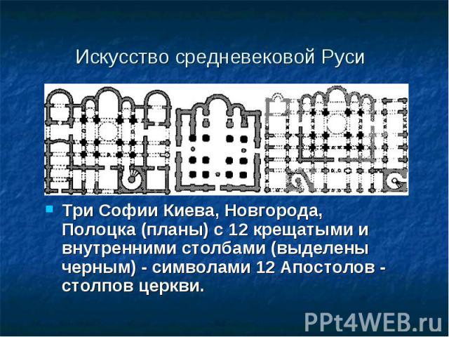 Искусство средневековой Руси Три Софии Киева, Новгорода, Полоцка (планы) с 12 крещатыми и внутренними столбами (выделены черным) - символами 12 Апостолов - столпов церкви.