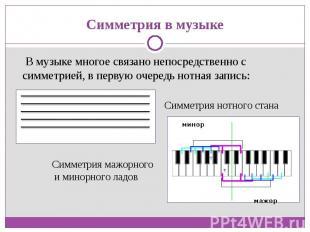 В музыке многое связано непосредственно с симметрией, в первую очередь нотная за