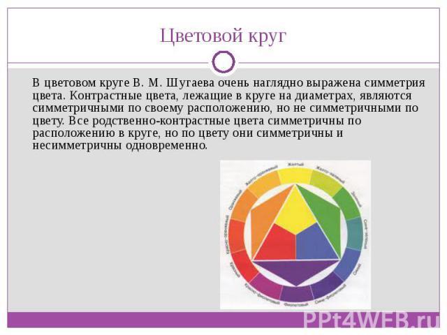 В цветовом круге В. М. Шугаева очень наглядно выражена симметрия цвета. Контрастные цвета, лежащие в круге на диаметрах, являются симметричными по своему расположению, но не симметричными по цвету. Все родственно-контрастные цвета симметричны по рас…