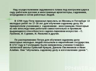 Над осуществлением задуманного плана под контролем царя в саду работали русские