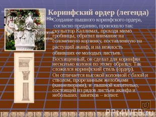 Коринфский ордер (легенда) Создание пышного коринфского ордера, согласно предани