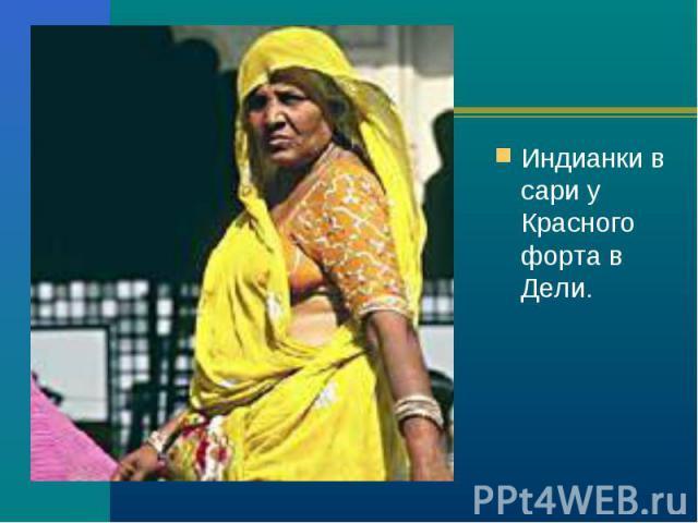 Индианки в сари у Красного форта в Дели. Индианки в сари у Красного форта в Дели.