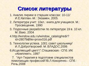 1. Анализ лирики в старших классах: 10-11/ И.Е.Каплан.-М.: Экзамен, 2005. 1. Ана
