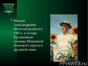 Михаил Александрович Шолохов родился в 1905 г. в хуторе Кружилином станицы Вёшен
