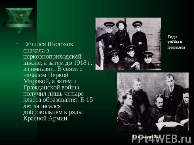 Учился Шолохов сначала в церковноприходской школе, а затем до 1918 г. в гимназии. В связи с началом Первой Мировой, а затем и Гражданской войны, получил лишь четыре класса образования. В 15 лет записался добровольцем в ряды Красной Армии. Учился Шол…