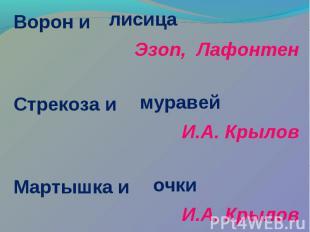 Ворон и Ворон и Эзоп, Лафонтен Стрекоза и И.А. Крылов Мартышка и И.А. Крылов