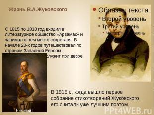 Жизнь В.А.Жуковского С 1815 по 1818 год входил в литературное общество «Арзамас»