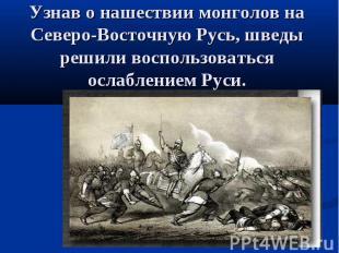 Узнав о нашествии монголов на Северо-Восточную Русь, шведы решили воспользоватьс