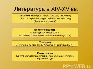 Литература в XIV-XV вв.