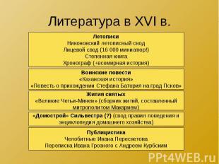 Литература в XVI в.