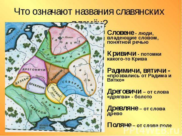 Что означают названия славянских племён? Словене - люди, владеющие словом, понятной речью Кривичи - потомки какого-то Крива Радимичи, вятичи - «прозвались от Радима и Вятко» Дреговичи – от слова «дрягва» - болото Древляне – от слова древо Поляне – о…