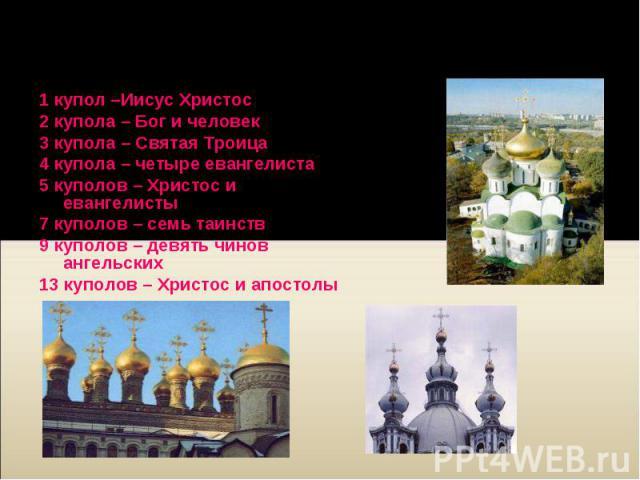 1 купол –Иисус Христос 1 купол –Иисус Христос 2 купола – Бог и человек 3 купола – Святая Троица 4 купола – четыре евангелиста 5 куполов – Христос и евангелисты 7 куполов – семь таинств 9 куполов – девять чинов ангельских 13 куполов – Христос и апостолы