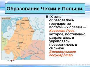 В IX веке образовалось государство восточных славян — Киевская Русь, которое, по