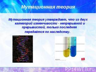 Мутационная теория утверждает, что из двух категорий изменчивости - непрерывной