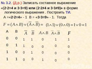 № 3.2. (Д.р.) Записать составное выражение № 3.2. (Д.р.) Записать составное выра