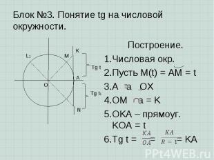 Построение. Построение. Числовая окр. Пусть M(t) = AM = t A a OX OM a = K OKA –