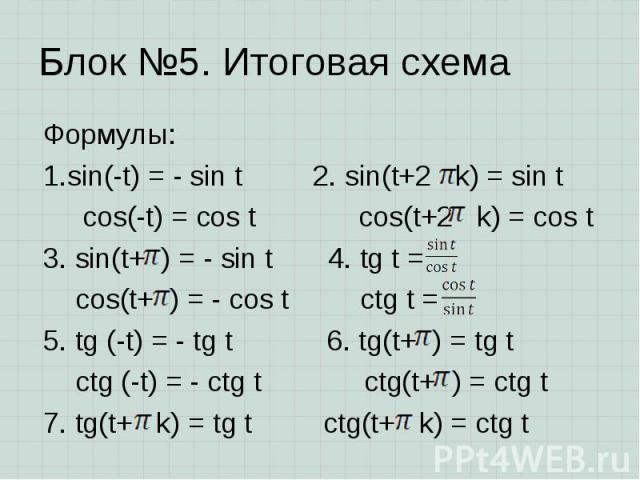 Формулы: Формулы: sin(-t) = - sin t 2. sin(t+2 k) = sin t cos(-t) = cos t cos(t+2 k) = cos t 3. sin(t+ ) = - sin t 4. tg t = cos(t+ ) = - cos t ctg t = 5. tg (-t) = - tg t 6. tg(t+ ) = tg t ctg (-t) = - ctg t ctg(t+ ) = ctg t 7. tg(t+ k) = tg t ctg(…