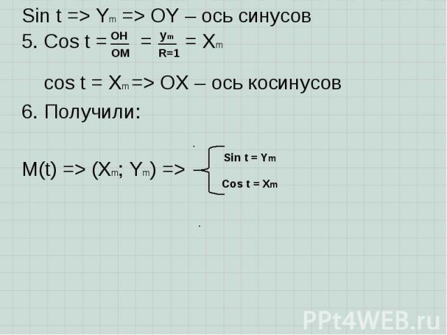 Sin t => Ym => OY – ось синусов Sin t => Ym => OY – ось синусов 5. Cos t = = = Xm cos t = Xm => OX – ось косинусов 6. Получили: M(t) => (Xm; Ym) =>