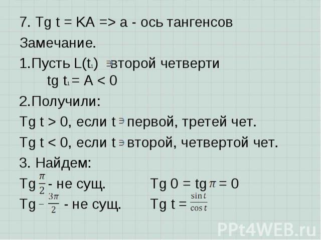 7. Tg t = KA => a - ось тангенсов 7. Tg t = KA => a - ось тангенсов Замечание. Пусть L(t1) второй четверти tg t1 = A < 0 Получили: Tg t > 0, если t первой, третей чет. Tg t < 0, если t второй, четвертой чет. 3. Найдем: Tg - не сущ. Tg…