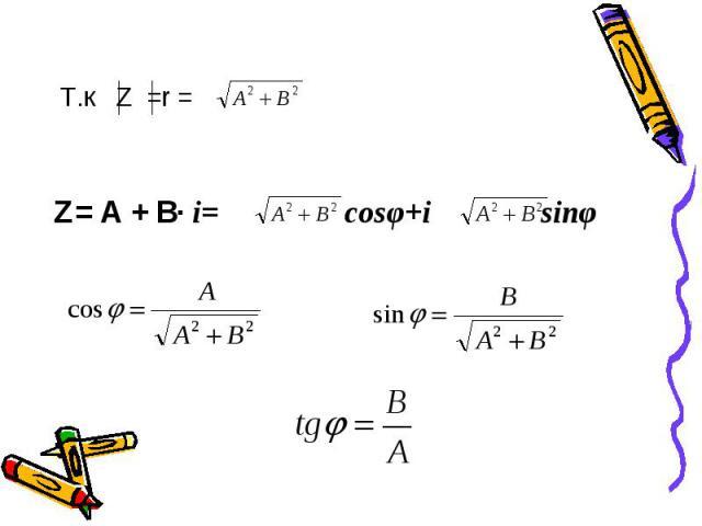 Т.к Z =r =