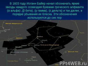 В 1603 году Иоганн Байер начал обозначать яркие звезды каждого созвездия буквами