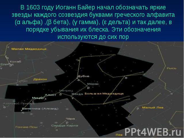 В 1603 году Иоганн Байер начал обозначать яркие звезды каждого созвездия буквами греческого алфавита (α альфа) ,(β бета), (γ гамма), (ε дельта) и так далее, в порядке убывания их блеска. Эти обозначения используются до сих пор
