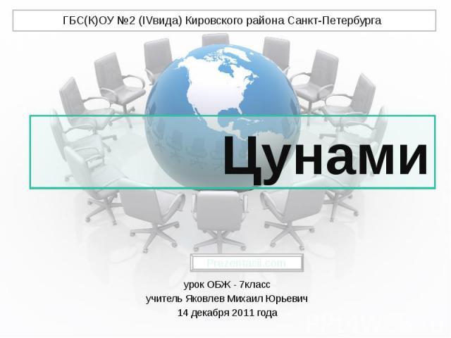 Цунами урок ОБЖ - 7класс учитель Яковлев Михаил Юрьевич 14 декабря 2011 года