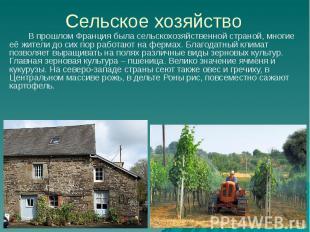 Сельское хозяйство В прошлом Франция была сельскохозяйственной страной, многие е