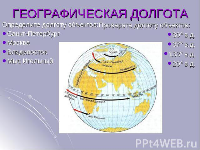 Определите долготу объектов: Определите долготу объектов: Санкт-Петербург Москва Владивосток Мыс Игольный