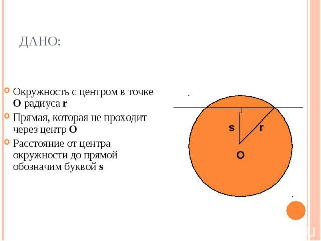 Окружность с центром в точке О радиуса r Прямая, которая не проходит через центр О Расстояние от центра окружности до прямой обозначим буквой s