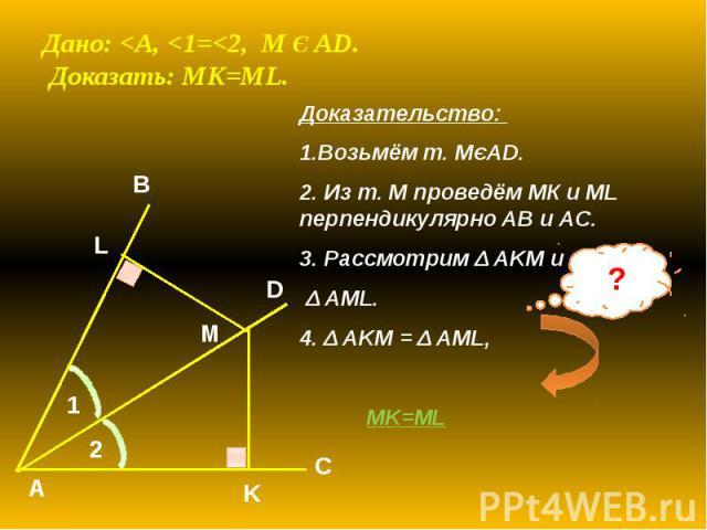 Дано: <A, <1=<2, M Є AD. Доказать: MK=ML. Доказательство: 1.Возьмём т. МЄAD. 2. Из т. М проведём МК и ML перпендикулярно AB и AC. 3. Рассмотрим Δ AKM и Δ AML. 4. Δ AKM = Δ AML, MK=ML