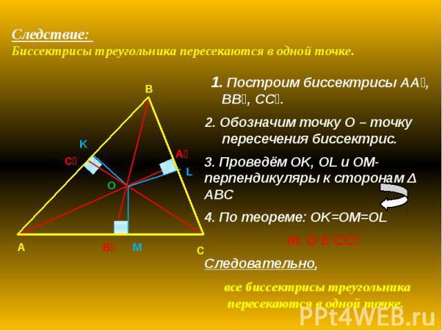 Следствие: Биссектрисы треугольника пересекаются в одной точке. 1. Построим биссектрисы АА₁, BB₁, CC₁. 2. Обозначим точку O – точку пересечения биссектрис. 3. Проведём OK, OL и OM-перпендикуляры к сторонам Δ ABC 4. По теореме: OK=OM=OL т. О Є СС₁ Сл…
