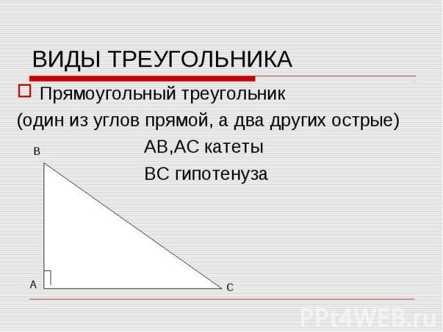 Прямоугольный треугольник Прямоугольный треугольник (один из углов прямой, а два других острые) АВ,АС катеты ВС гипотенуза