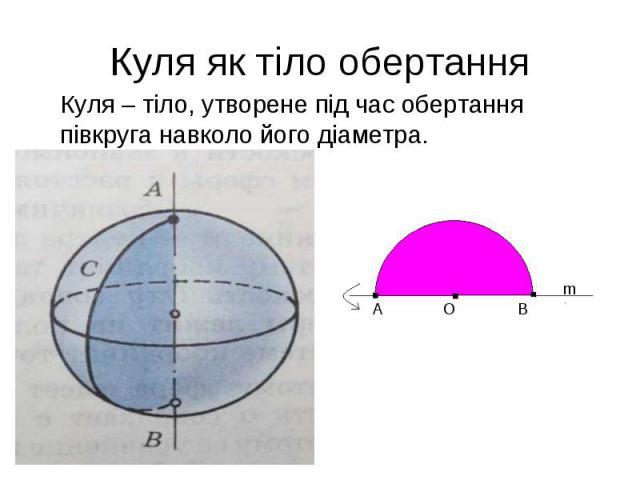 Куля – тіло, утворене під час обертання півкруга навколо його діаметра. Куля – тіло, утворене під час обертання півкруга навколо його діаметра.