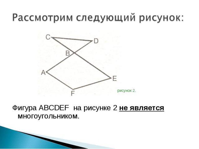 Фигура ABCDEF на рисунке 2 не является многоугольником. Фигура ABCDEF на рисунке 2 не является многоугольником.