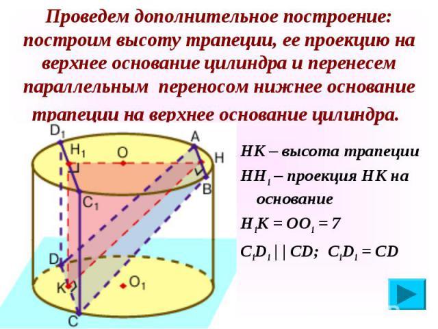 НК – высота трапеции НК – высота трапеции НН1 – проекция НК на основание Н1К = ОО1 = 7 С1D1 | | СD; С1D1 = CD