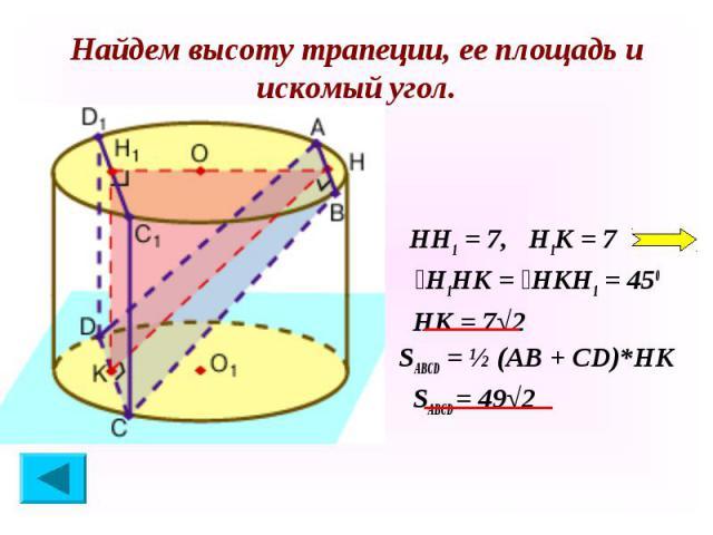 НН1 = 7, Н1К = 7 НН1 = 7, Н1К = 7 ےН1НК = ےНКН1 = 450 НК = 7√2 SABCD = ½ (АВ + СD)*НК SАВСD = 49√2