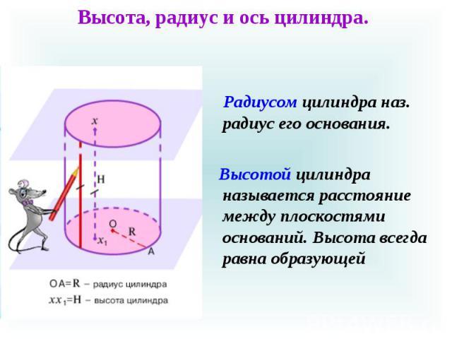 Радиусом цилиндра наз. радиус его основания. Радиусом цилиндра наз. радиус его основания. Высотой цилиндра называется расстояние между плоскостями оснований. Высота всегда равна образующей