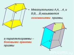 Многоугольники A1A2…An и B1B2…Bn называются основаниями призмы, Многоугольники A