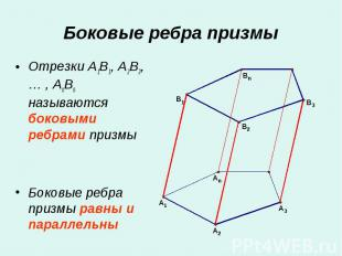 Отрезки A1B1, A2B2, … , AnBn называются боковыми ребрами призмы Отрезки A1B1, A2