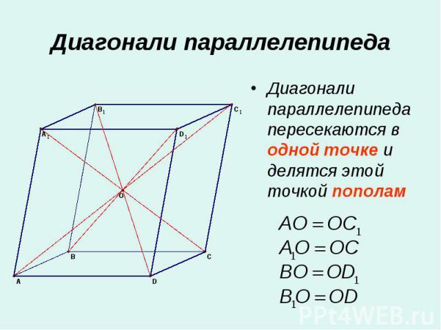 Диагонали параллелепипеда пересекаются в одной точке и делятся этой точкой пополам Диагонали параллелепипеда пересекаются в одной точке и делятся этой точкой пополам