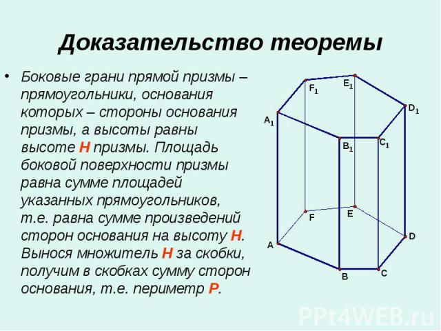 Боковые грани прямой призмы – прямоугольники, основания которых – стороны основания призмы, а высоты равны высоте H призмы. Площадь боковой поверхности призмы равна сумме площадей указанных прямоугольников, т.е. равна сумме произведений сторон основ…