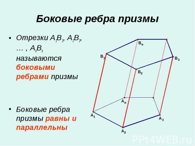 Отрезки A1B1, A2B2, … , AnBn называются боковыми ребрами призмы Отрезки A1B1, A2B2, … , AnBn называются боковыми ребрами призмы Боковые ребра призмы равны и параллельны