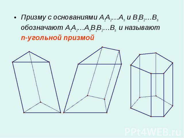 Призму с основаниями A1A2…An и B1B2…Bn обозначают A1A2…AnB1B2…Bn и называют n-угольной призмой Призму с основаниями A1A2…An и B1B2…Bn обозначают A1A2…AnB1B2…Bn и называют n-угольной призмой